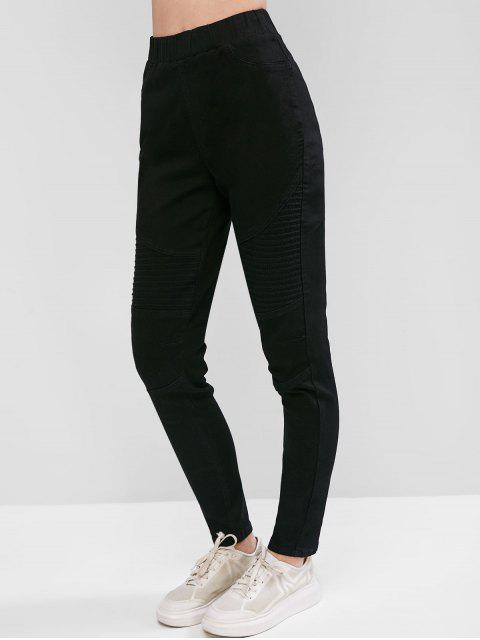高腰修身性有騎自行車的牛仔褲 - 黑色 M Mobile