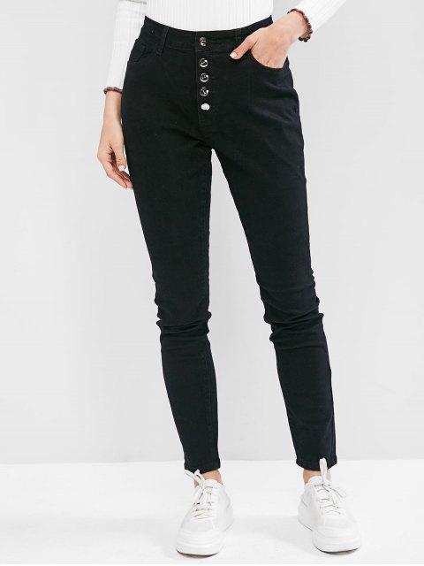 Knopf Fliege Hohe Taillierte Jeans mit Hoher Taille - Schwarz 2XL Mobile