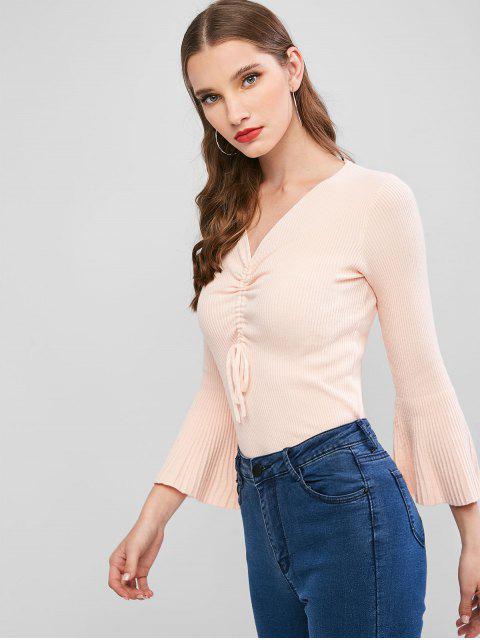 Gerippter Schmaler Pullover mit Ausgestelltem Ärmel - Aprikose Eine Größe Mobile