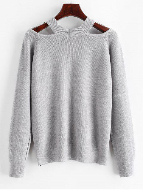 affordable Cut Out Solid Raglan Sleeves Sweater - DARK GRAY ONE SIZE Mobile
