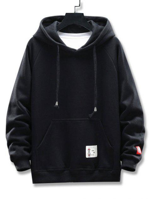 Grafik Buchstabe Muster Taschen Design Hoodie - Schwarz 4XL Mobile