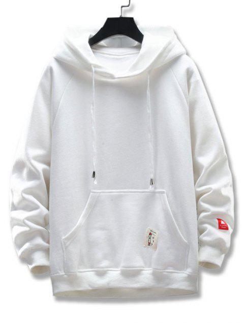 圖形文字圖案口袋設計連帽外套 - 白色 2XL Mobile