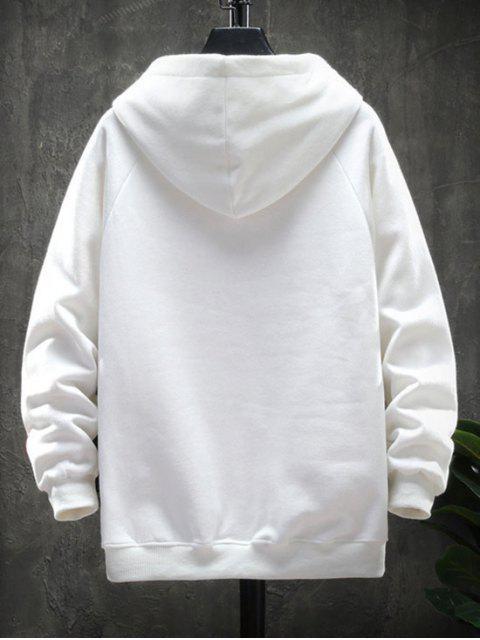 圖形文字圖案口袋設計連帽外套 - 白色 4XL Mobile