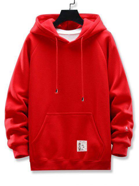 圖形文字圖案口袋設計連帽外套 - 紅 M Mobile