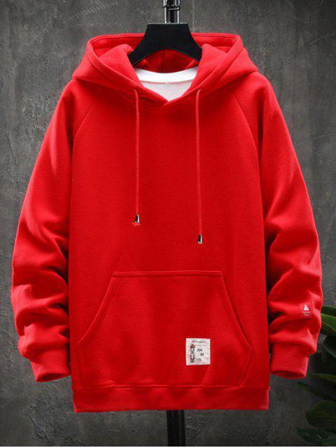 圖形文字圖案口袋設計連帽外套 - 紅 3XL Mobile