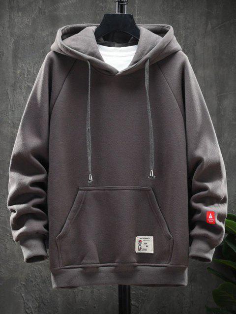圖形文字圖案口袋設計連帽外套 - 灰色 M Mobile