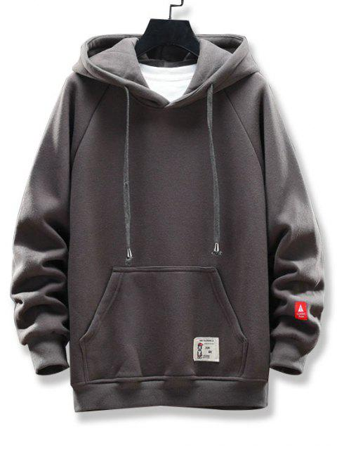 圖形文字圖案口袋設計連帽外套 - 灰色 XL Mobile