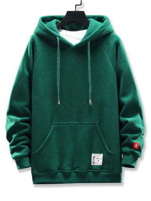 圖形文字圖案口袋設計連帽外套 - 綠色 4XL Mobile