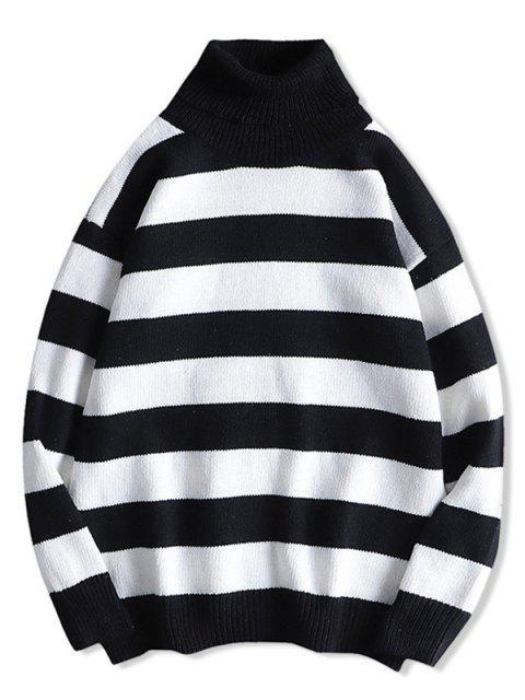 Rollkragen Streifen Drop Schulter Pullover - Weiß M Mobile