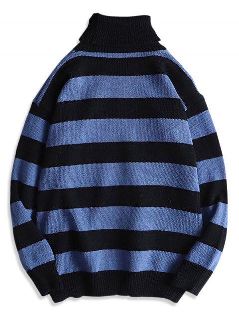Rollkragen Gestreifter Hängender Schulter Pullover - Pfauenblau S Mobile