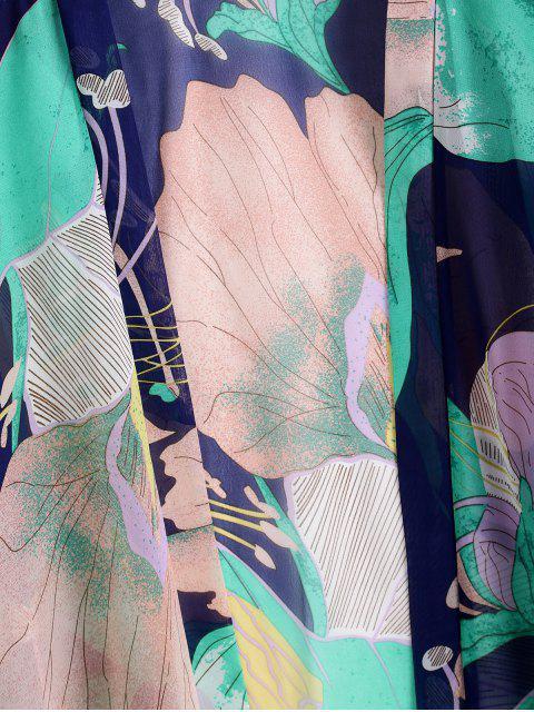 ZAFUL Цветочный принт С бахромой Плечо падения Кимоно Накидка - Многоцветный-A Один размер Mobile