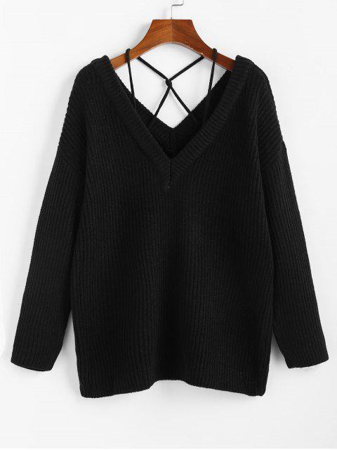 fancy ZAFUL Plunging Drop Shoulder Criss Cross Jumper Sweater - BLACK L Mobile