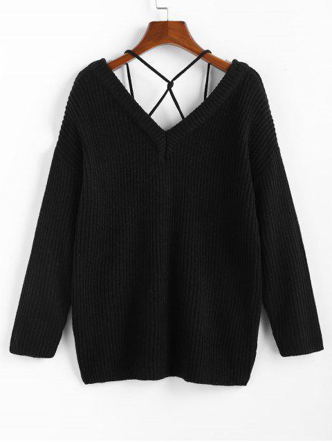 ZAFUL Pullover mit Tiefem Rückenausschnitt und Abfallender Schulterpartie - Schwarz M Mobile