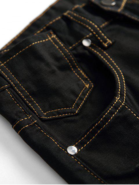 Flügel gestickte Reißverschluss Casual Jeans - Schwarz 42 Mobile