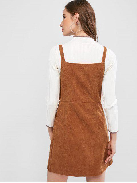 affordable Button Up Corduroy Sleeveless Flare Dress - BROWN S Mobile