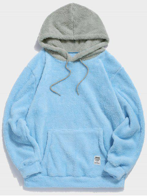 trendy Colorblock Splicing Drawstring Fluffy Hoodie - LIGHT SKY BLUE S Mobile