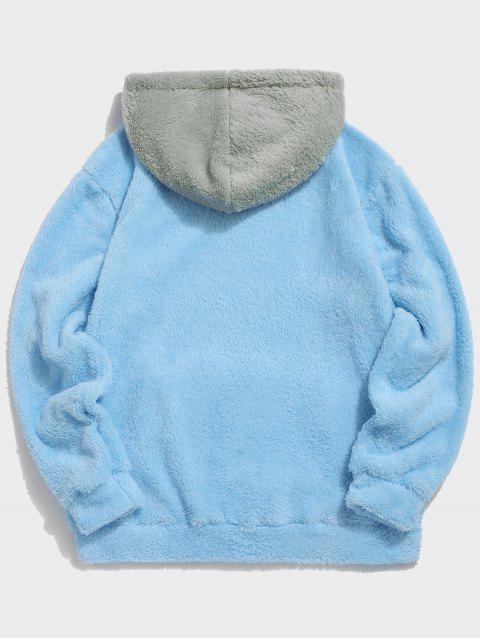 chic Colorblock Splicing Drawstring Fluffy Hoodie - LIGHT SKY BLUE L Mobile