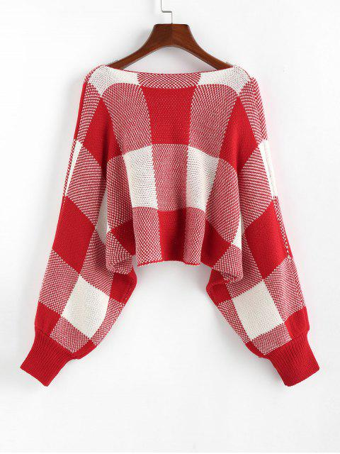 outfits ZAFUL Checkered Cowl Front Twisted Batwing Sleeve Sweater - RED S Mobile
