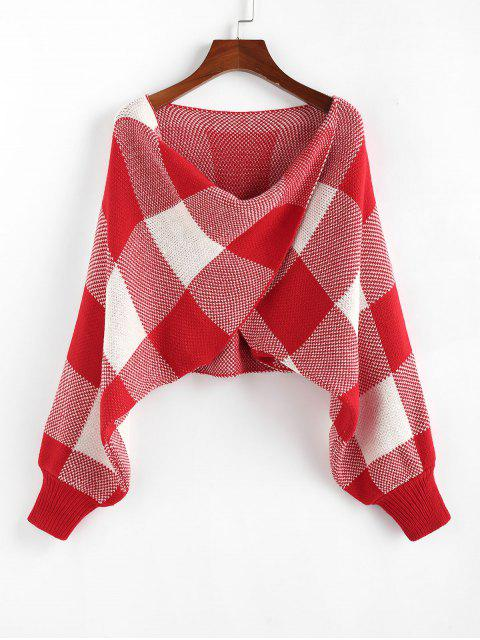 latest ZAFUL Checkered Cowl Front Twisted Batwing Sleeve Sweater - RED L Mobile