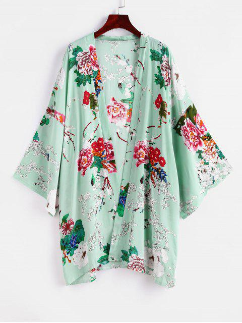best ZAFUL Flower Drop Shoulder Kimono Cover Up - MULTI-A ONE SIZE Mobile