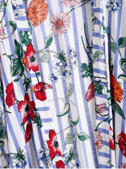 ZAFULHautCouverture Fleur Rayée à Goutte Epaule Sans Col - Multi-A Taille Unique Mobile