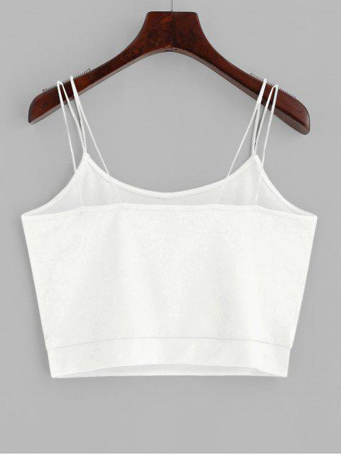 buy ZAFUL Solid Color Crop Strappy Cami Top - WHITE S Mobile