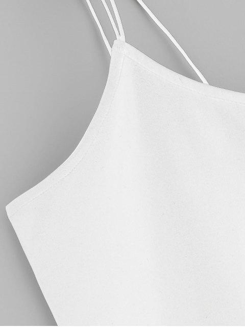 ZAFUL Haut Court à Bretelle en Couleur Unie - Blanc XL Mobile