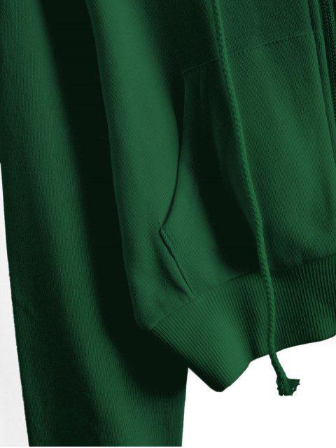 ReißverschlusstaschenCropEinfarbigeHoodie - Grün XL Mobile