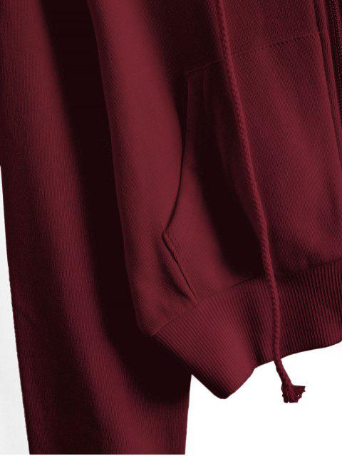 ReißverschlusstaschenCropEinfarbigeHoodie - Roter Wein L Mobile