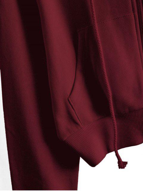 ReißverschlusstaschenCropEinfarbigeHoodie - Roter Wein XL Mobile