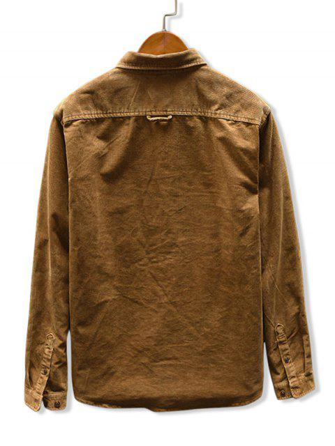 chic Solid Color Pocket Corduroy Shirt - KHAKI L Mobile