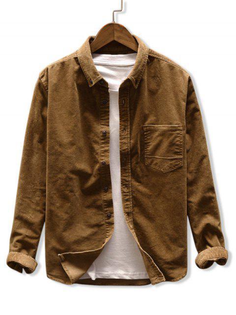 純色口袋燈芯絨襯衫 - 黃褐色 3XL Mobile