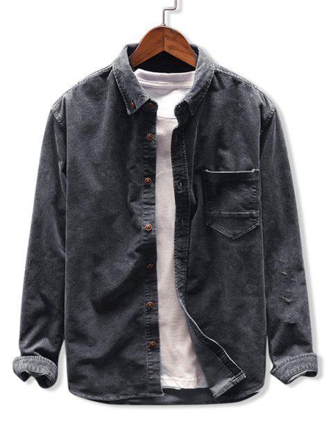 Camisa de Pana con Bolsillo de Color Sólido - Gris Oscuro XL Mobile