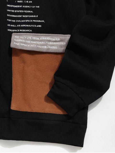 Grafik Druck Taschen Dekoration Lässiges Hoodie - Schwarz 2XL Mobile