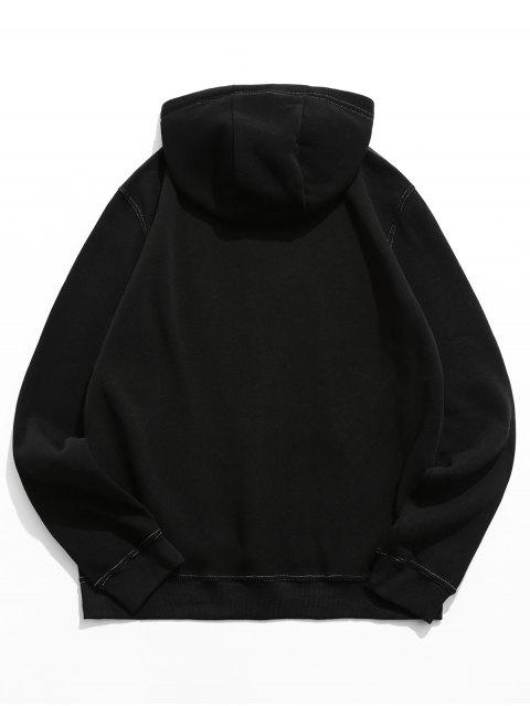 對比縫製袋鼠口袋抓絨帽衫 - 黑色 2XL Mobile