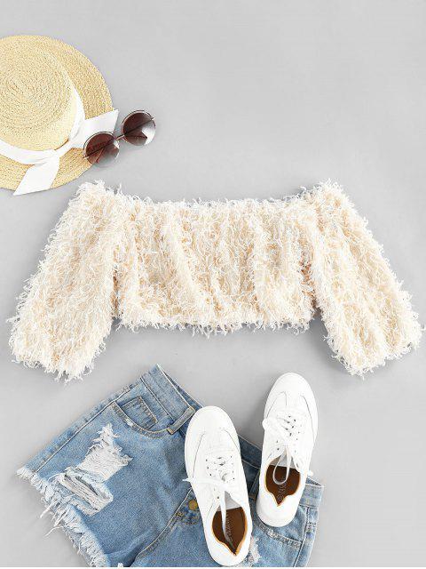shop ZAFUL Fluffy Off The Shoulder Crop Top - APRICOT M Mobile