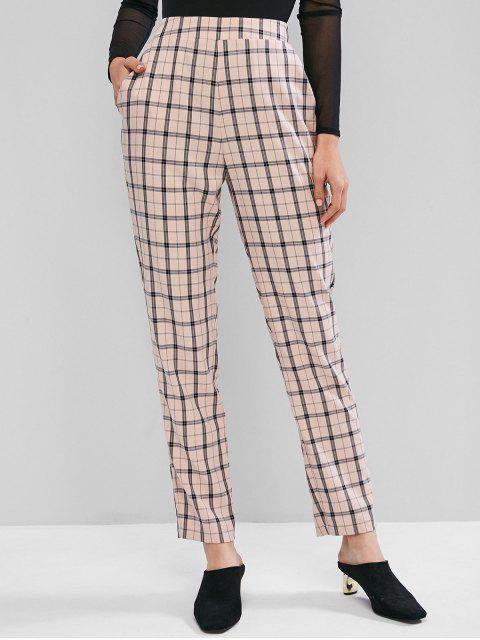 ZAFUL Pantalones Rectos de Cintura Alta a Cuadros - Rosa Luz S Mobile