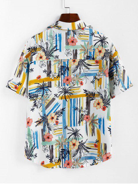 ZAFULストライプフローラルプリントボタンアップシャツ - 白 S Mobile