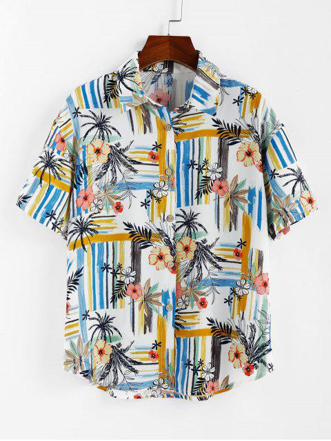 ladies ZAFUL Striped Floral Print Button Up Shirt - WHITE XL Mobile