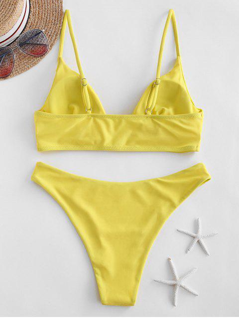 ZAFUL Bikini de Corte Alto con Tirantes - Amarillo L Mobile