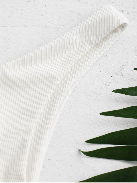 fancy ZAFUL High Cut Ribbed Bikini Bottom - WHITE S Mobile