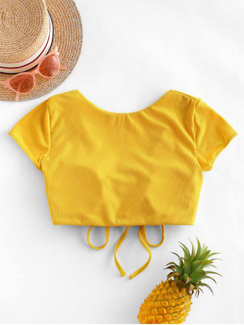 shop ZAFUL Cinched Ribbed Swim Top - SUN YELLOW XL Mobile