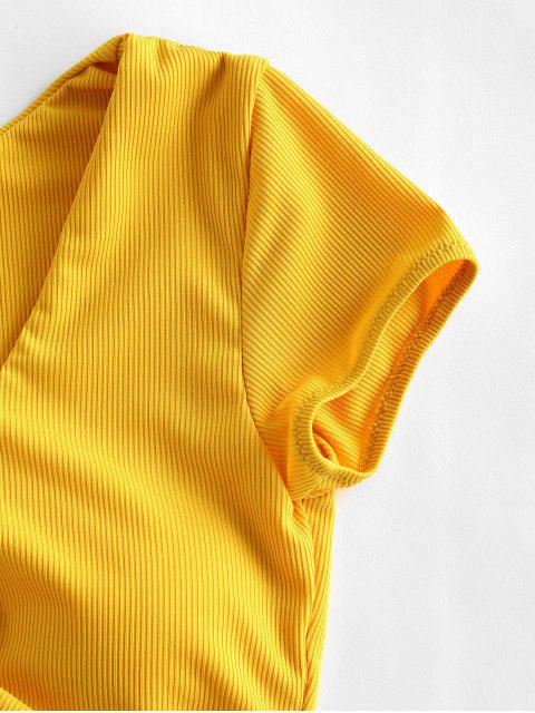 outfits ZAFUL Cinched Ribbed Swim Top - SUN YELLOW L Mobile