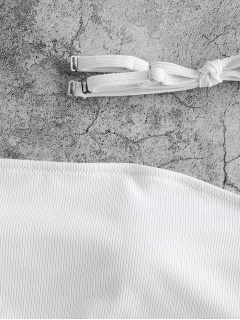 Bikini a Fascia a Costine con Lacci di ZAFUL - Bianca S Mobile