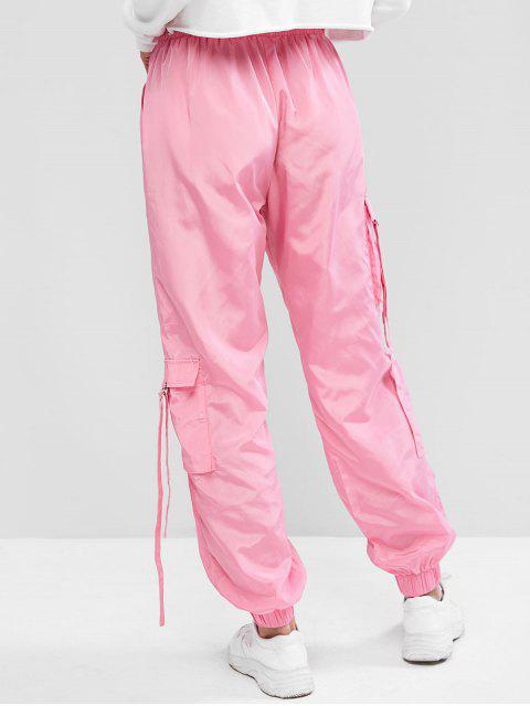 ZAFULソリッドカラーは、ジョガーパンツポケット - ピンク XL Mobile