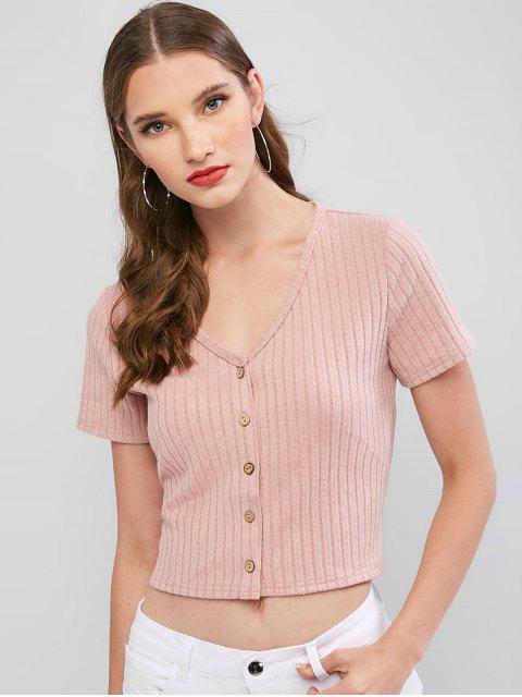 ZAFUL T-shirt Court Boutonné en Couleur Unie - Rose XL Mobile