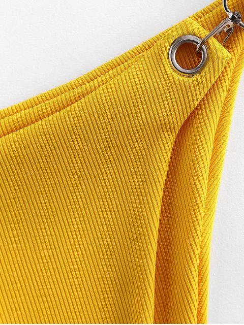 hot ZAFUL Snap Hook Ribbed Bikini Bottom - MUSTARD L Mobile