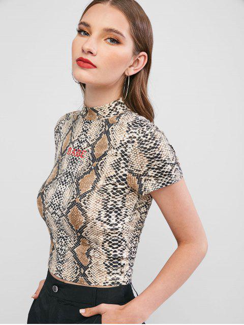 ZAFUL T-shirt Ajusté Lettre Peau de Serpent à Col Montant - Multi-A M Mobile