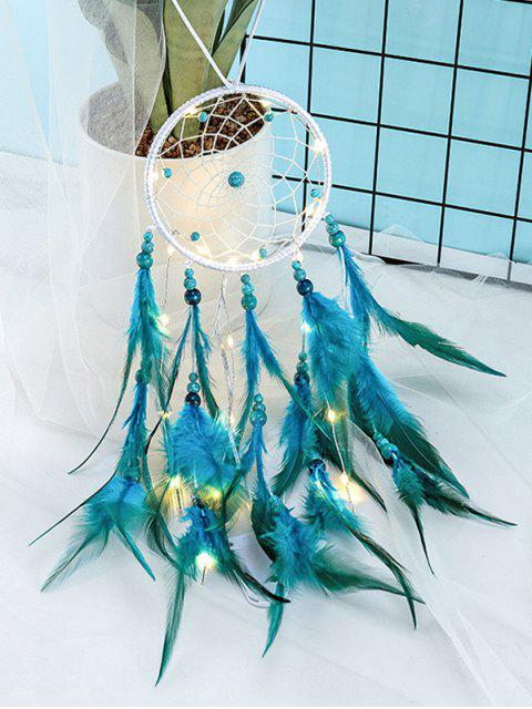 outfit Handmade LED Light String Beaded Feather Dream Catcher - MACAW BLUE GREEN  Mobile