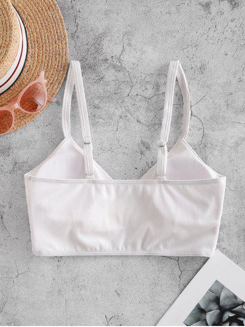 chic ZAFUL Ribbed Side Boning Surplice Bikini Top - WHITE M Mobile